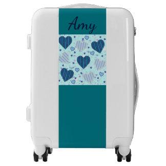 Cute blue hearts monogram luggage trolley