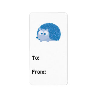 Cute Blue Hedgehog Label