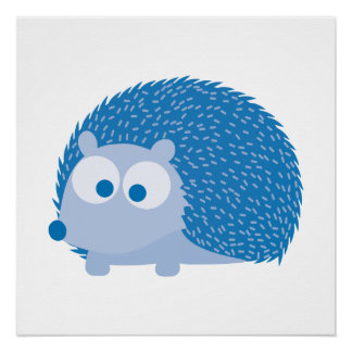 Cute Blue Hedgehog Poster