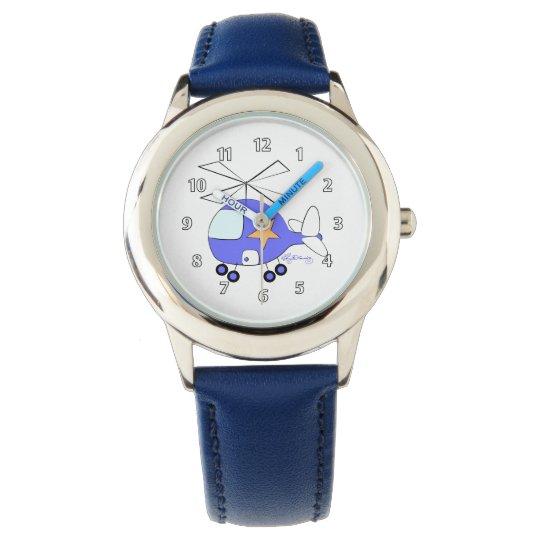 Cute Blue Helicopter Wristwatch