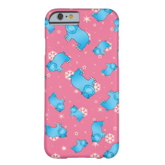 Cute blue hippo christmas pink snowflakes barely there iPhone 6 case