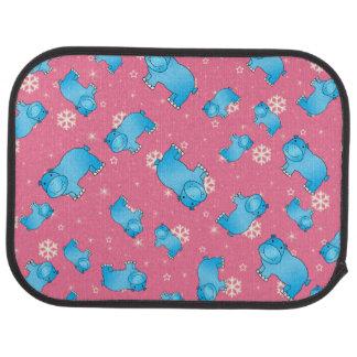 Cute blue hippo christmas pink snowflakes car floor mat