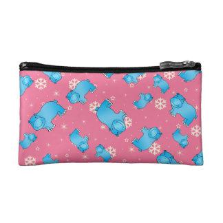 Cute blue hippo christmas pink snowflakes makeup bag