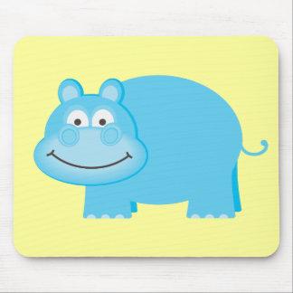 Cute Blue Hippo Mouse Pad
