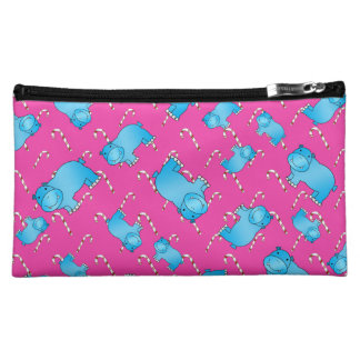 Cute blue hippo pink christmas candy canes cosmetic bags