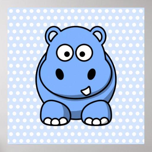 Cute Blue Hippo Poster