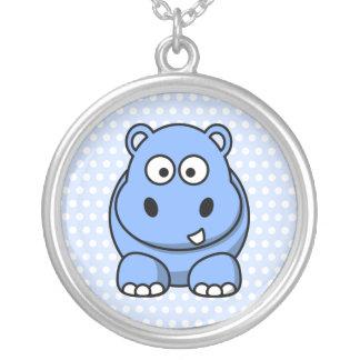 Cute Blue Hippo Round Pendant Necklace