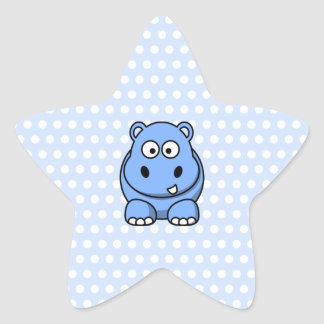 Cute Blue Hippo Star Sticker