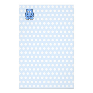 Cute Blue Hippo Stationery