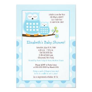 Cute Blue Hoot Owls 5x7 Baby Shower Dot Invite