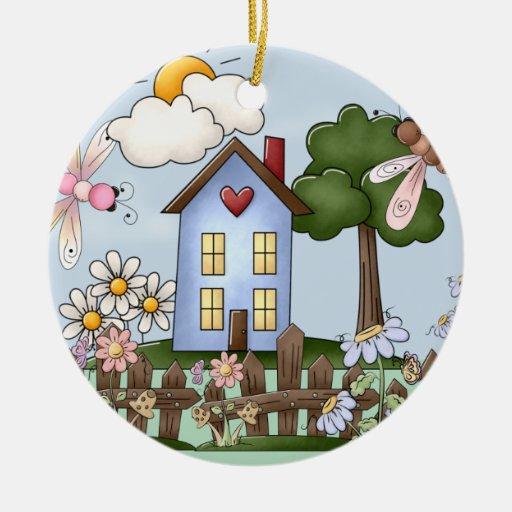 Cute Blue House in the Sunshine Ceramic Ornament