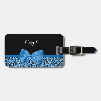 Cute Blue Jaguar Print Bright Blue Ribbon and Name Bag Tag