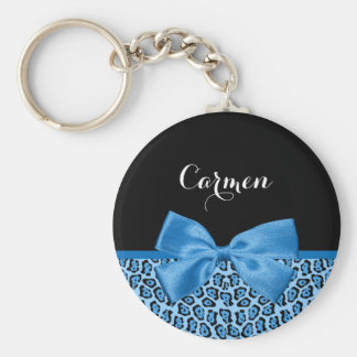 Cute Blue Jaguar Print Bright Blue Ribbon and Name Basic Round Button Keychain