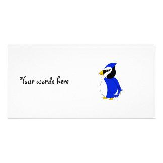 Cute blue jay photo card template