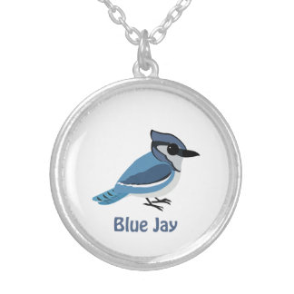 Cute Blue Jay Silver Plated Necklace