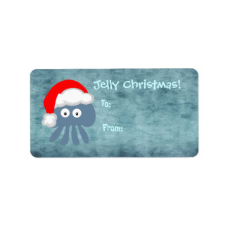 Cute Blue Jelly Christmas Jellyfish Santa Personalized Address Label