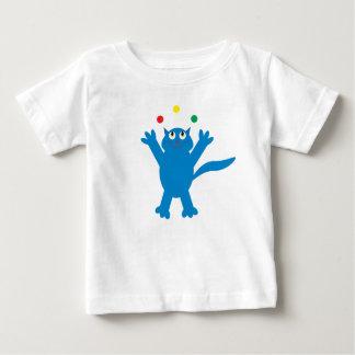 Cute Blue Juggling Cartoon Cat Baby T-Shirt