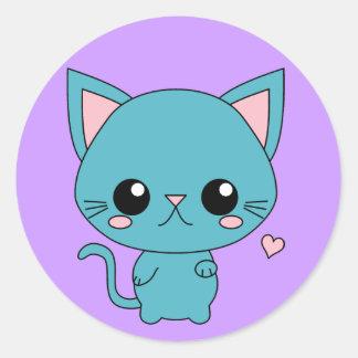 Cute Blue Kawaii Cat Classic Round Sticker