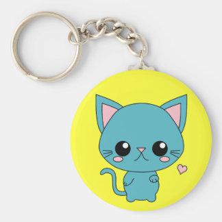 Cute Blue Kawaii Cat Keychain
