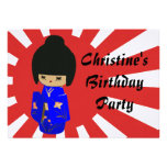 Cute Blue  Kawaii Kokeshi Doll Birthday Invitation