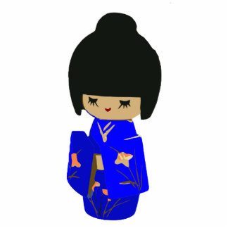 Cute Blue Kawaii Kokeshi Doll Photo sculpture