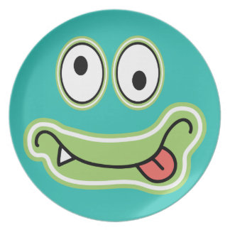 Cute Blue Kid's Monster Happy Face Melamine Plate