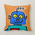 Cute Blue Kids Robot Orange Throw Pillow Cushion