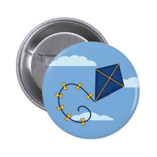 Cute Blue Kite Pins & Buttons