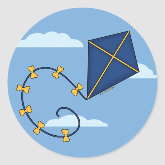 Cute Blue Kite Stickers