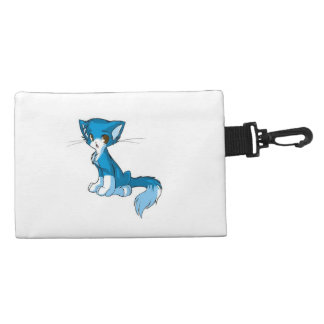 Cute Blue Kitty Clip-On Accessories Bag