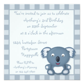 Cute Blue Koala Bear Cartoon Birthday Party Invite