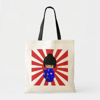 Cute Blue  Kokeshi Doll on rising sun Budget Tote Bag