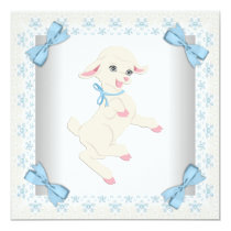 Cute Blue Lamb Baby Boy Shower Card