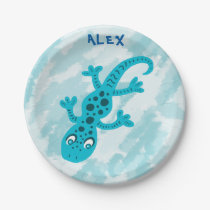 Cute Blue Lizard Gecko Birthday Name Paper Plate