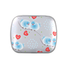 Cute Blue Love Birds and Red Love Hearts Pattern Candy Tins at Zazzle