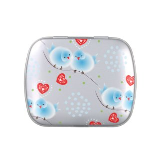 Cute Blue Love Birds and Red Love Hearts Pattern Candy Tins