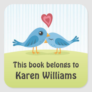Cute blue love birds bookplate stickers/book label square sticker