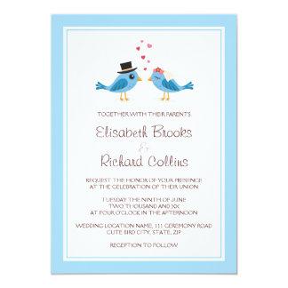 Cute blue love birds bride groom couple wedding custom announcement