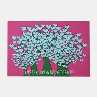 Blue Love Hearts Trees Design Hot Pink Doormat