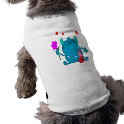 cute blue love monster doggie t-shirt
