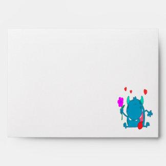 cute blue love monster envelope