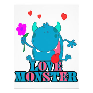 cute blue love monster with text full color flyer