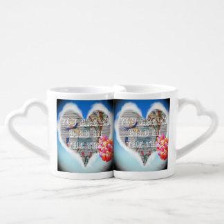Cute Blue lovers Hearts Coffee Mug Set