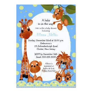 Cute Blue Monkey & Pals Boy Baby Shower Card