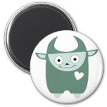 Cute Blue Monster 2 Inch Round Magnet