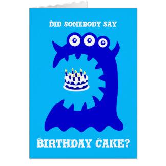 Cute Blue Monster Birthday Greeting Card