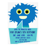 Cute Blue Monster Birthday Invitations Kids Party
