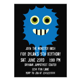 Cute Blue Monster Birthday Party Invitations