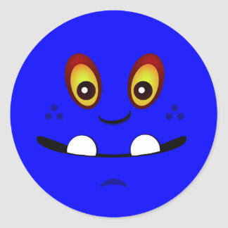 Cute Blue Monster Face w/ an Underbite Classic Round Sticker