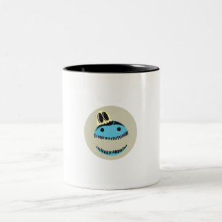 CUTE BLUE MONSTER FACE WITH HIS GHOST FRIEND Two-Tone COFFEE MUG